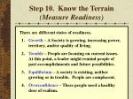 step 10 know the terrain measure readiness