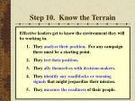 step 10 know the terrain