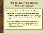 step 10 know the terrain test your position