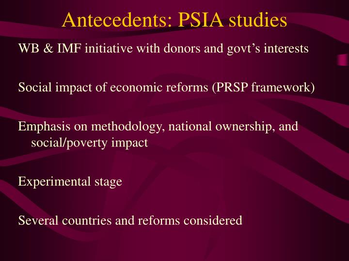 Antecedents psia studies