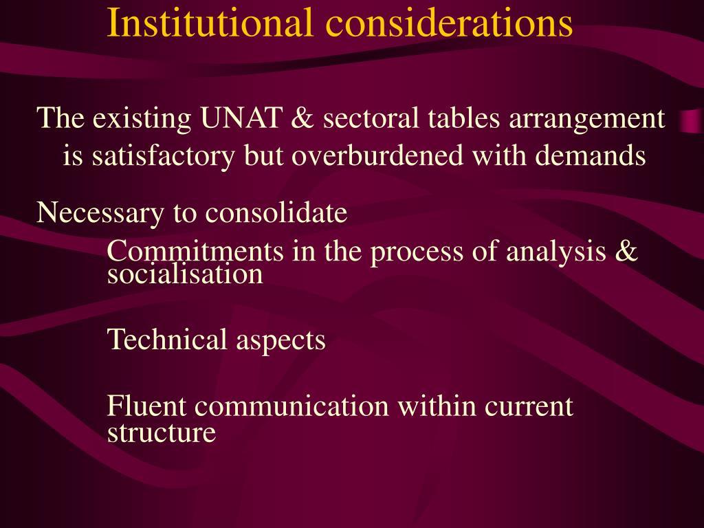 Institutional considerations