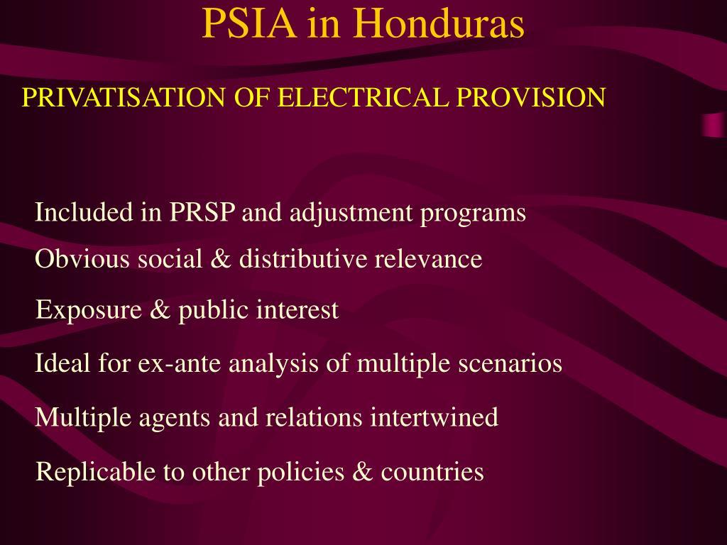 PSIA in Honduras