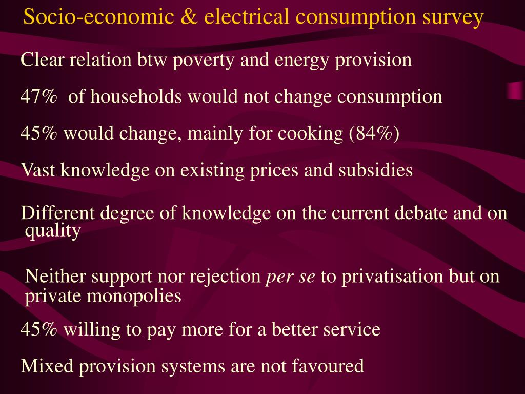 Socio-economic & electrical consumption survey