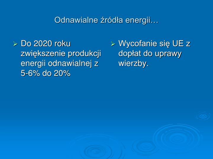 Do 2020 roku zwiększenie produkcji energii odnawialnej z 5-6% do 20%