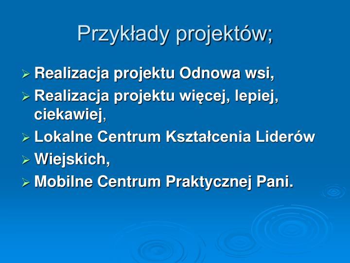 Przykłady projektów;
