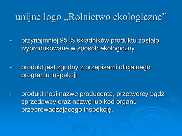 """unijne logo """"Rolnictwo ekologiczne"""""""