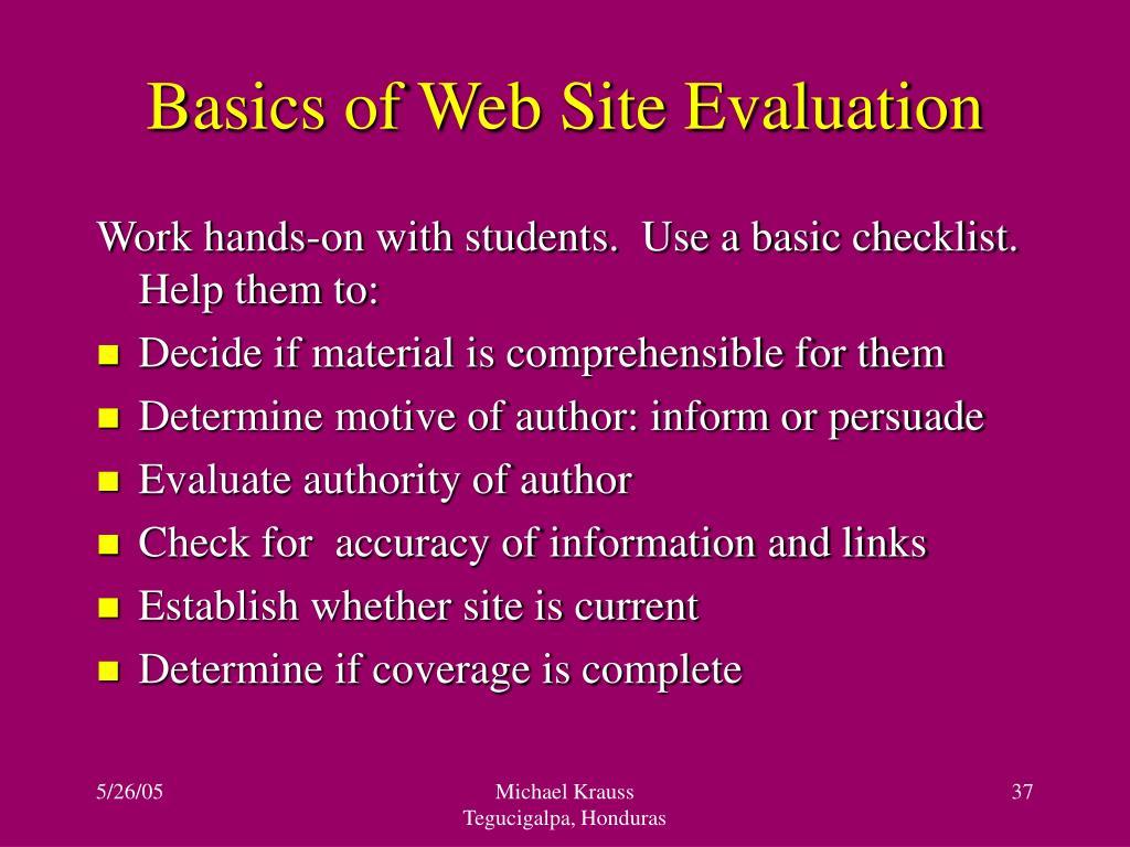 Basics of Web Site Evaluation
