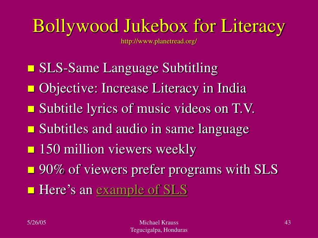 Bollywood Jukebox for Literacy