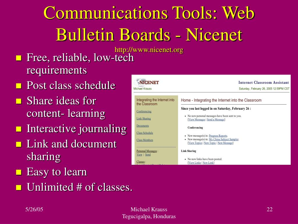 Communications Tools: Web Bulletin Boards - Nicenet