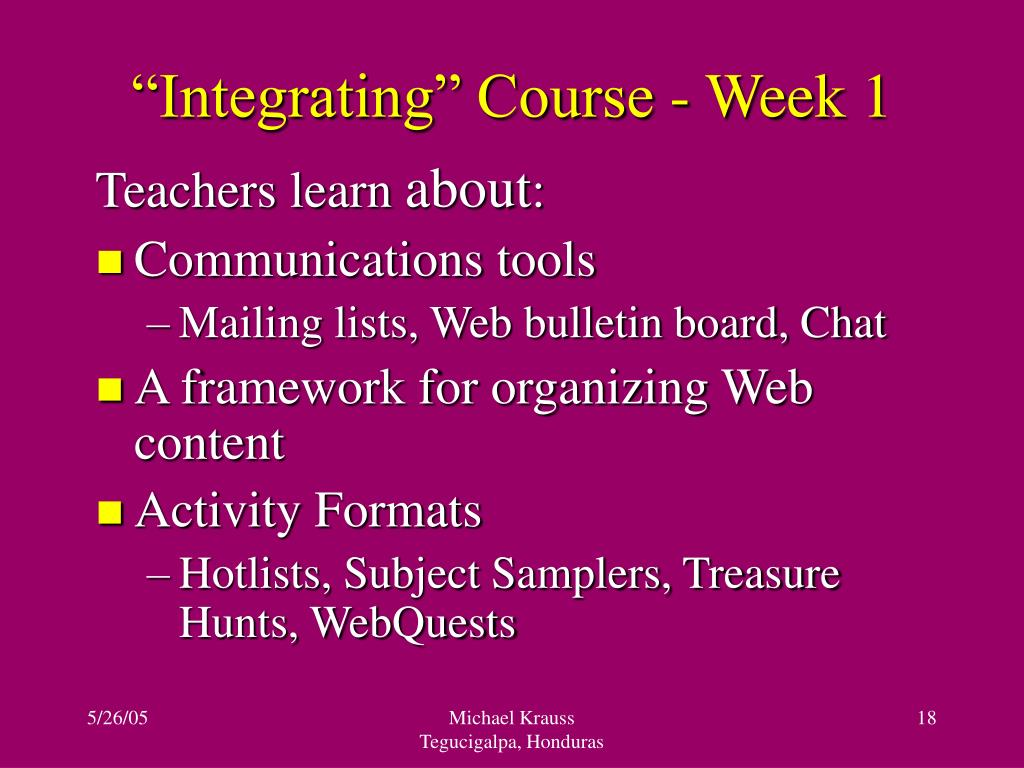 """Integrating"" Course - Week 1"
