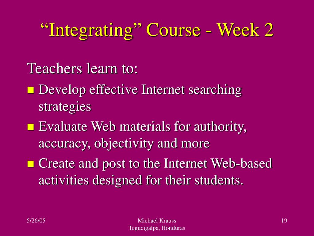 """Integrating"" Course - Week 2"