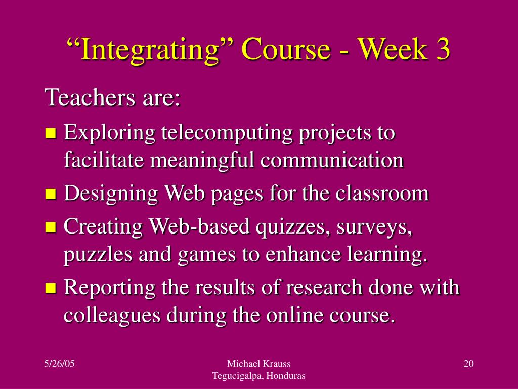 """Integrating"" Course - Week 3"