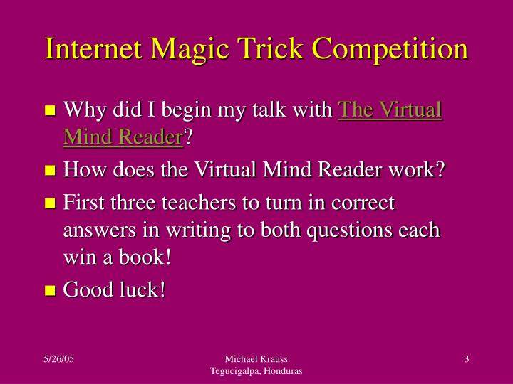 Internet magic trick competition