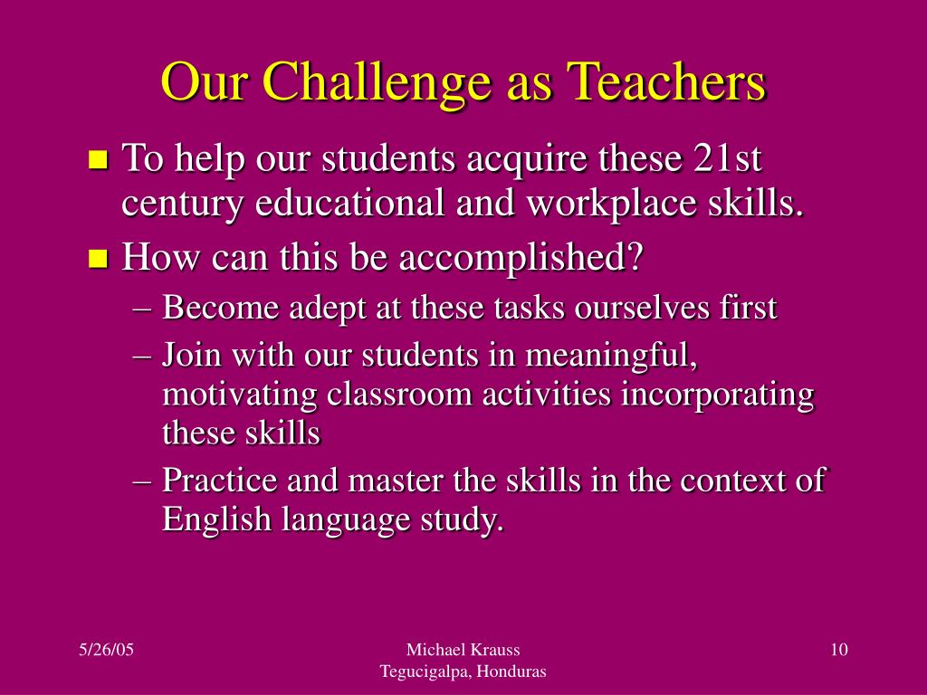 Our Challenge as Teachers