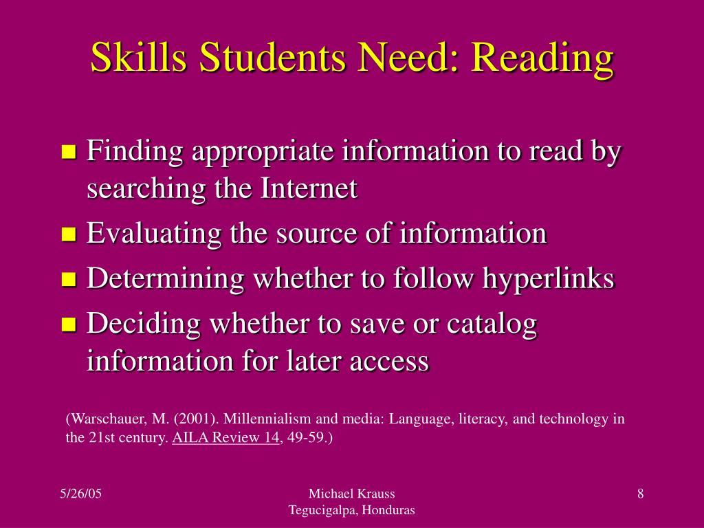 Skills Students Need: Reading