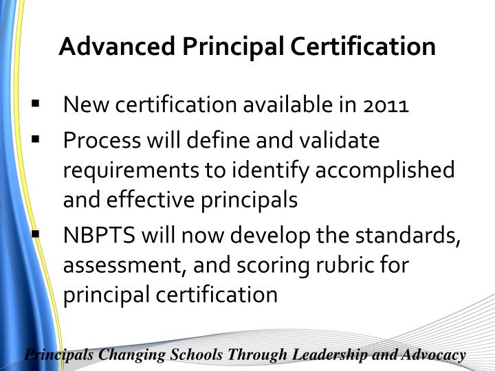 Advanced Principal Certification