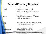 federal funding timeline