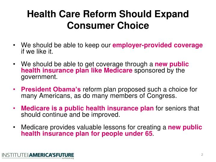 Health care reform should expand consumer choice
