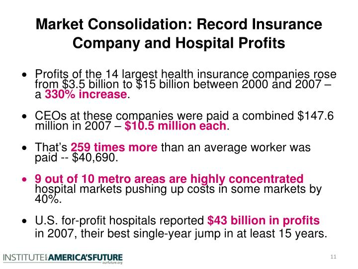 Market Consolidation: Record Insurance Company and Hospital Profits