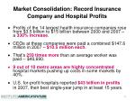 market consolidation record insurance company and hospital profits