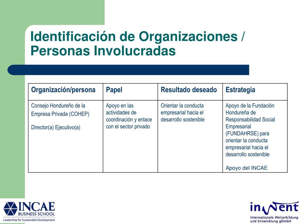 Identificación de Organizaciones / Personas Involucradas