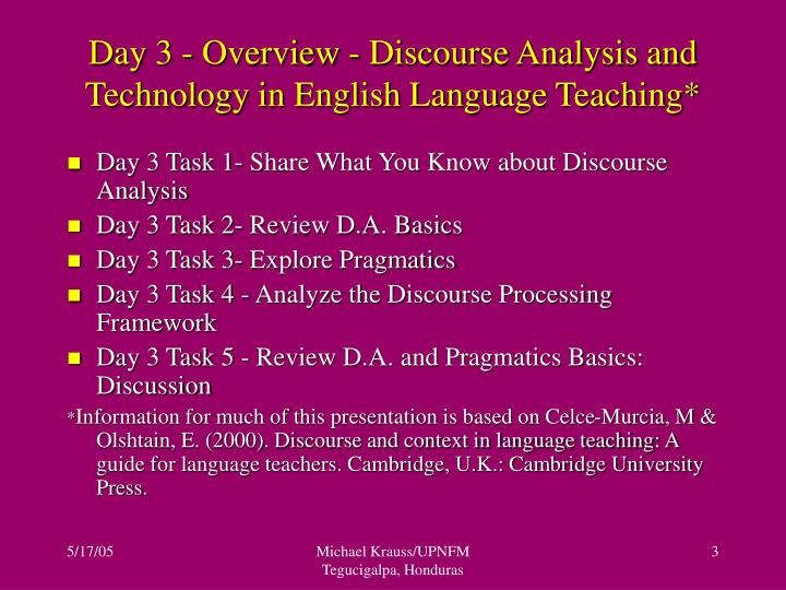 Day 3 overview discourse analysis and technology in english language teaching
