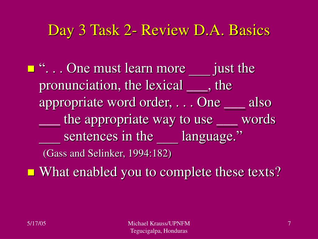Day 3 Task 2- Review D.A. Basics