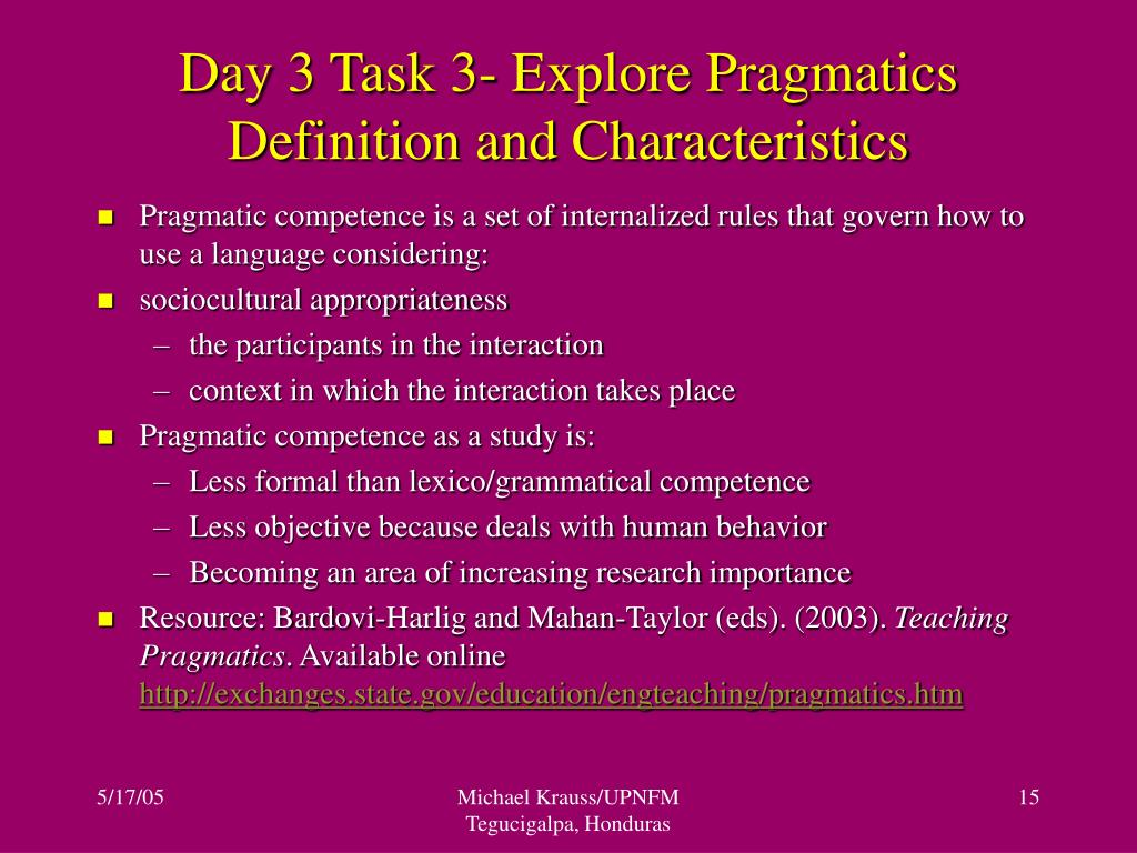 Day 3 Task 3- Explore Pragmatics