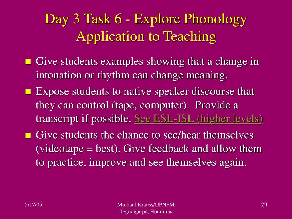 Day 3 Task 6 - Explore Phonology