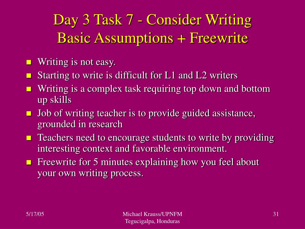 Day 3 Task 7 - Consider Writing