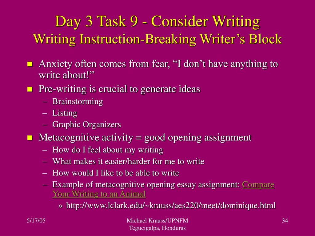 Day 3 Task 9 - Consider Writing