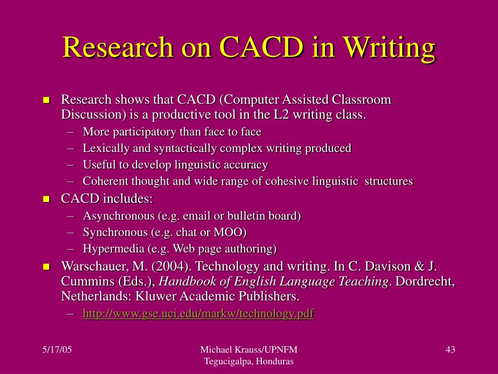 Research on CACD in Writing