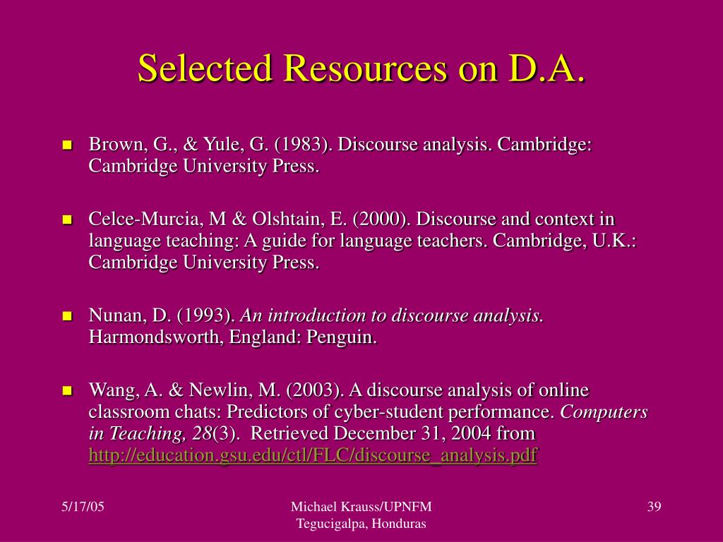 Selected Resources on D.A.
