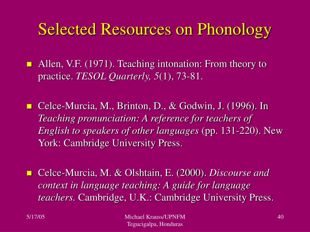 Selected Resources on Phonology
