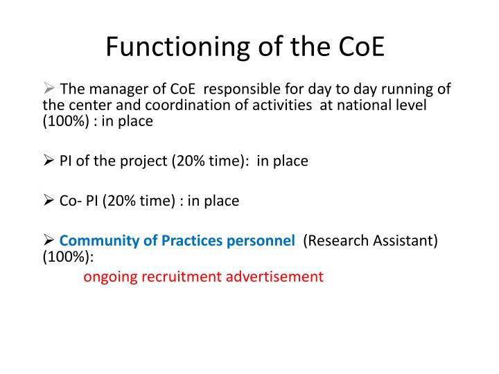 Functioning of the CoE