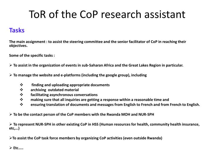 ToR of the CoP research assistant