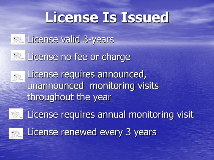 License Is Issued