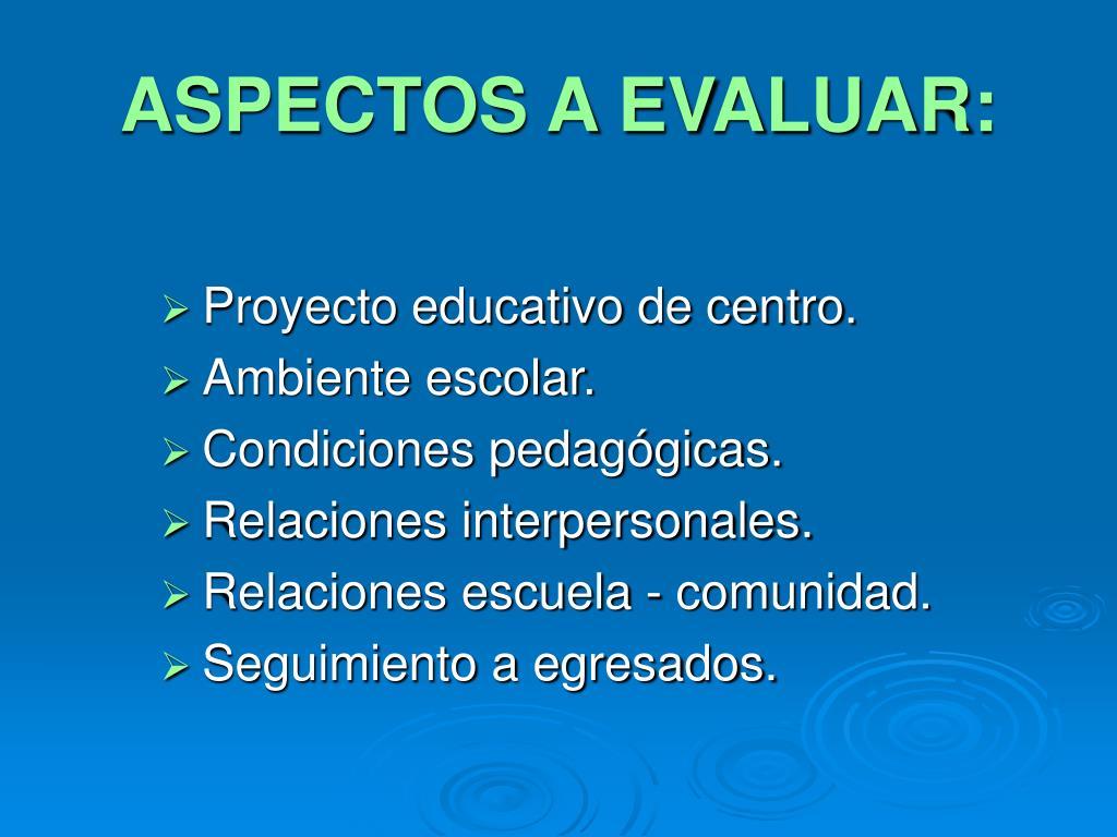 ASPECTOS A EVALUAR:
