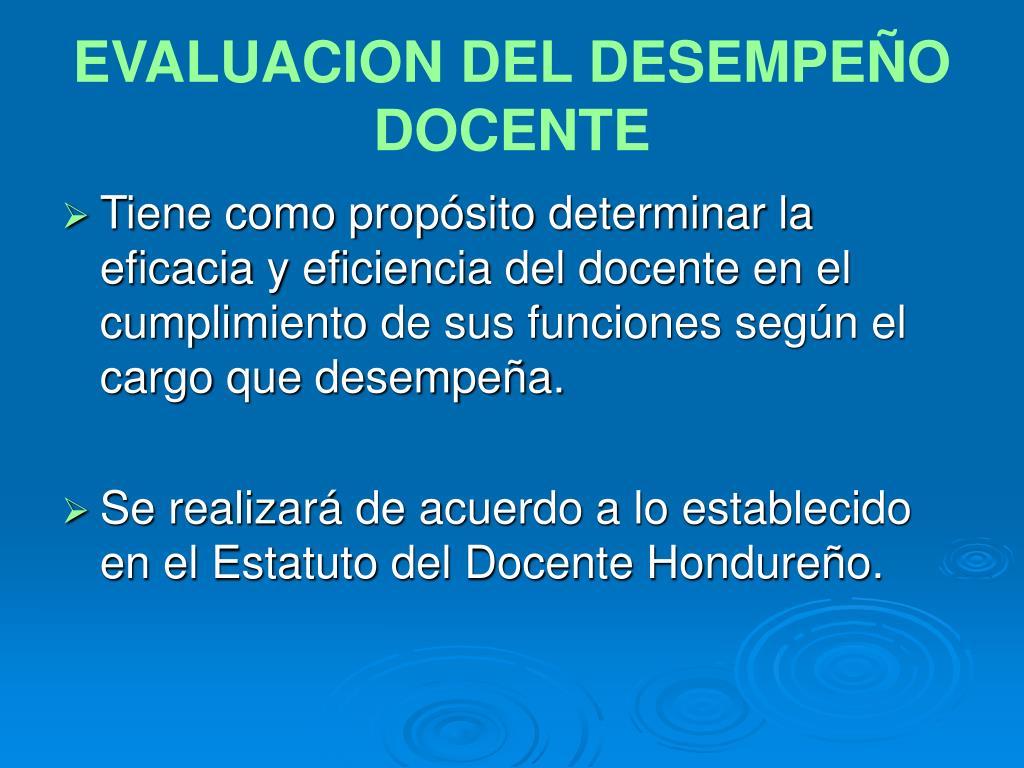 EVALUACION DEL DESEMPEÑO DOCENTE