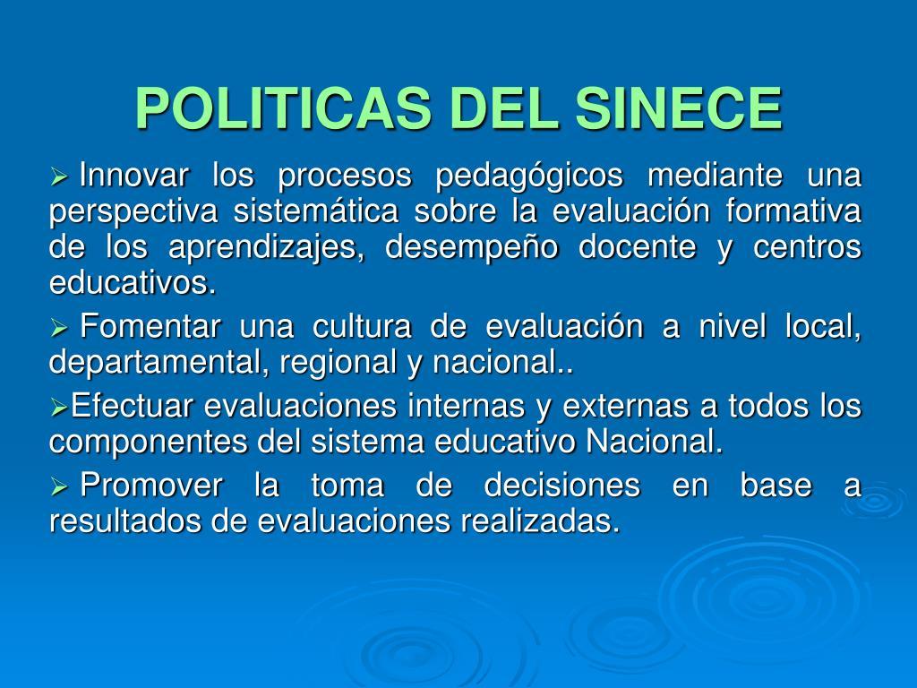 POLITICAS DEL SINECE