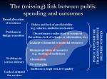 the missing link between public spending and outcomes