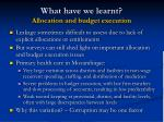 what have we learnt allocation and budget execution