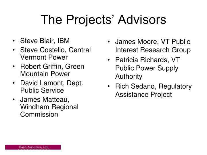 The projects advisors