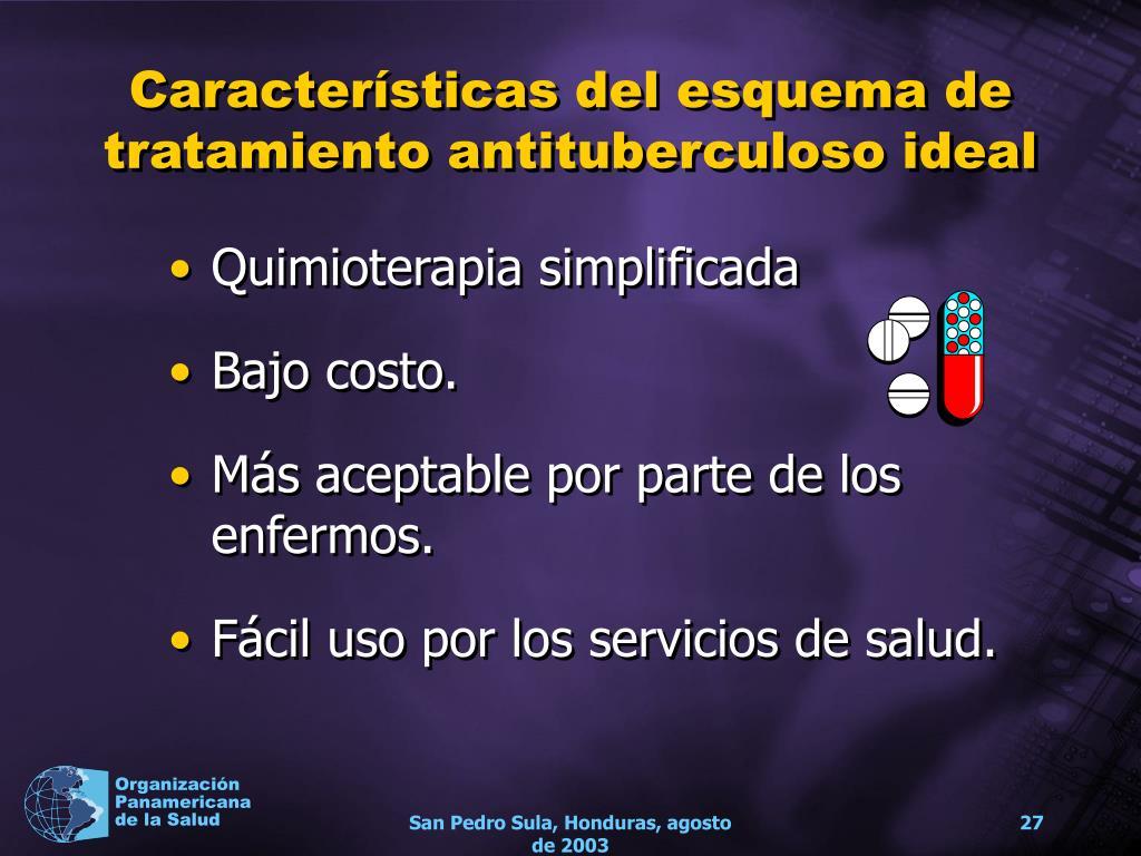 Características del esquema de tratamiento antituberculoso ideal