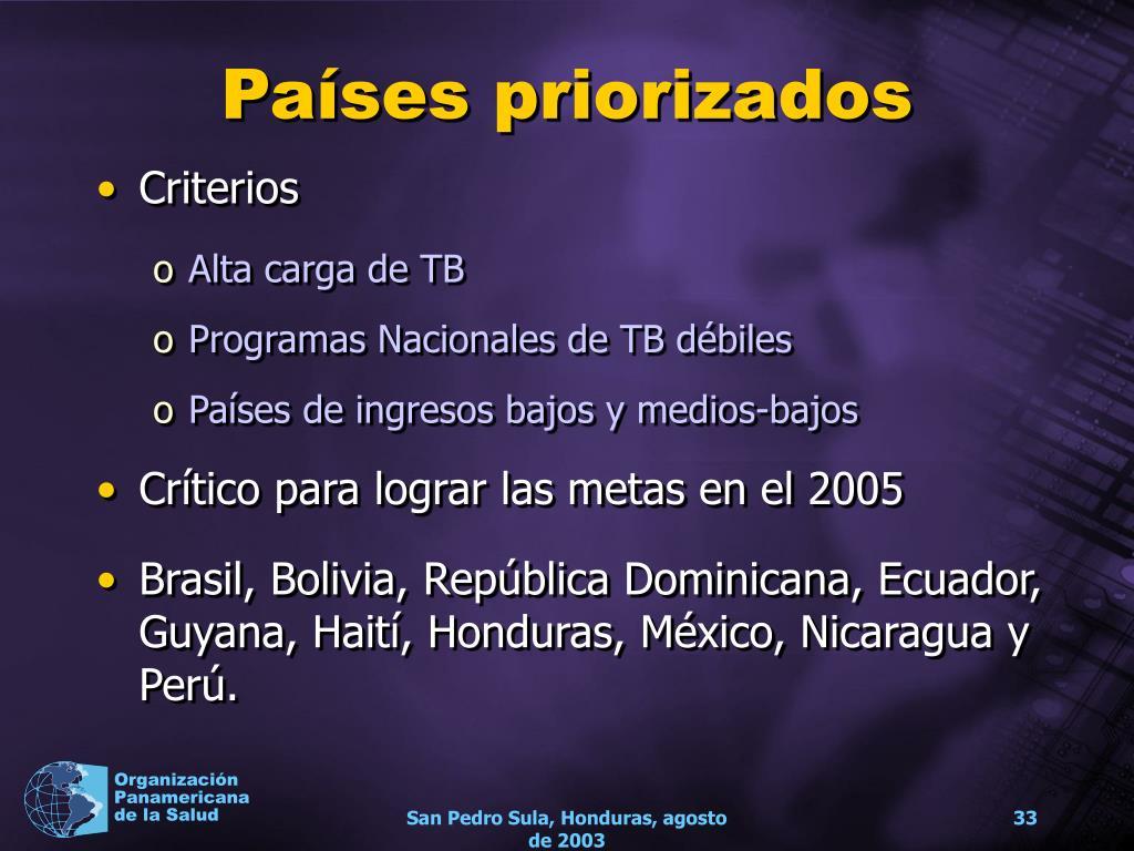 Países priorizados