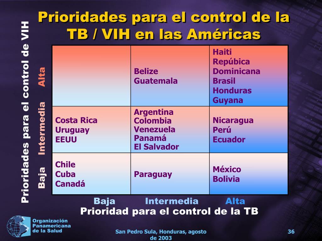 Prioridades para el control de la TB / VIH en las Américas