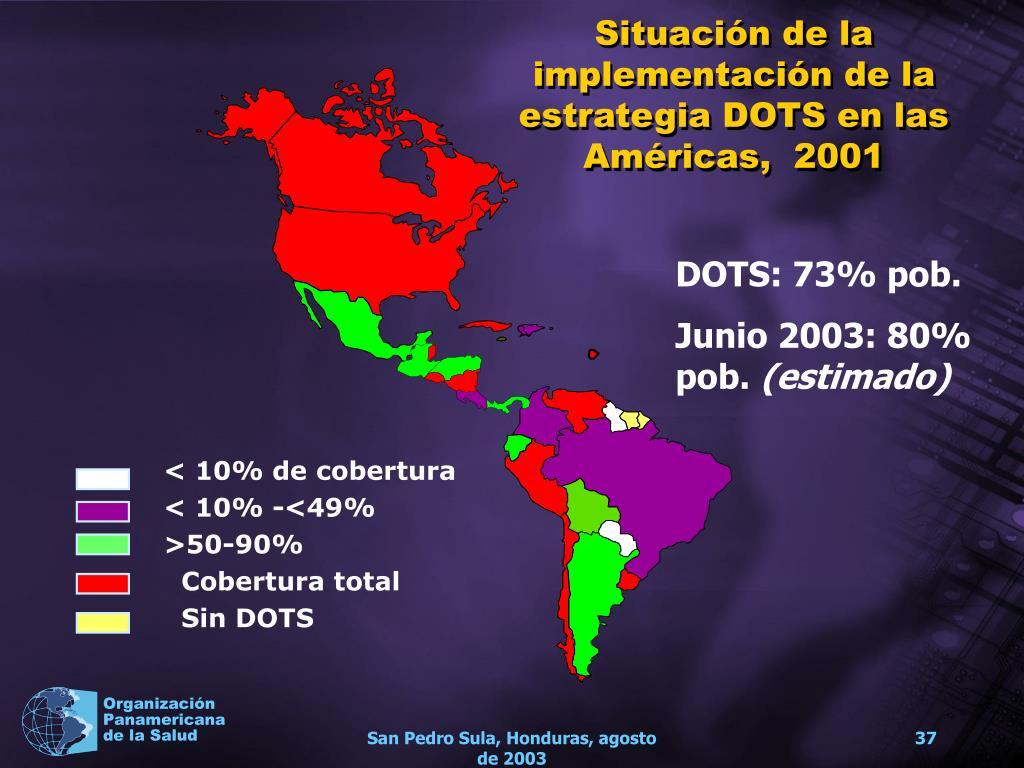 Situación de la implementación de la estrategia DOTS en las Américas,  2001