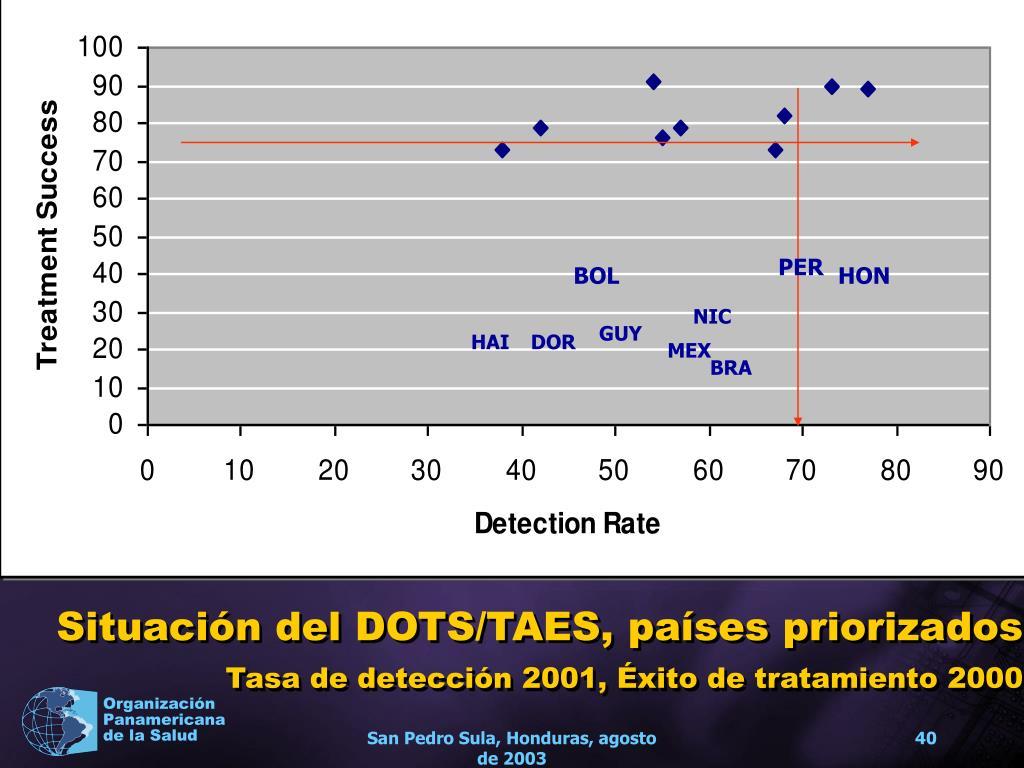 Situación del DOTS/TAES, países priorizados