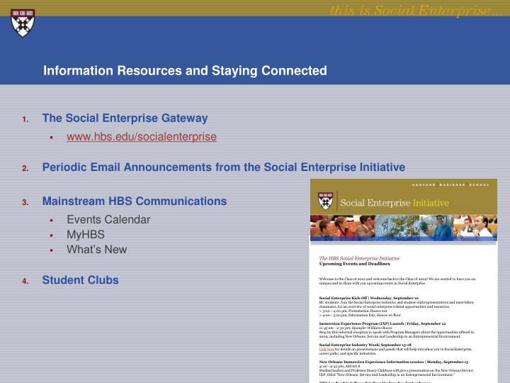 Information Resources and Staying Connected
