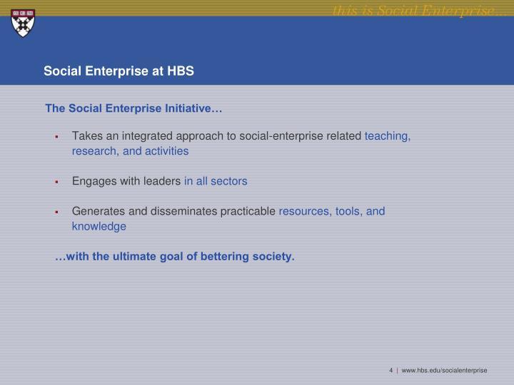 Social Enterprise at HBS